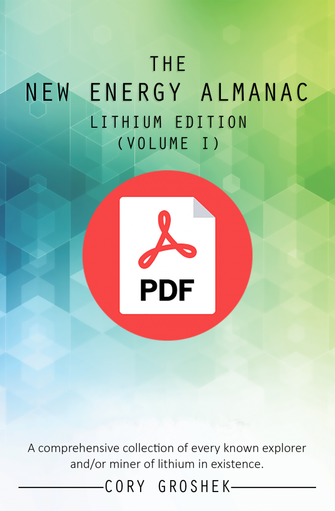 New Energy Almanac Lithium Edition (Vol I) by Cory Groshek